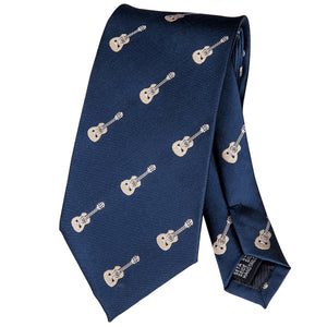 Pretty Blue Guitar Patterned Men's Tie Set