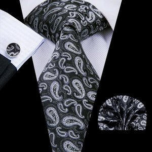 Black White Paisely  Mens Tie Pocket Square Cufflinks Set (1912923979818)