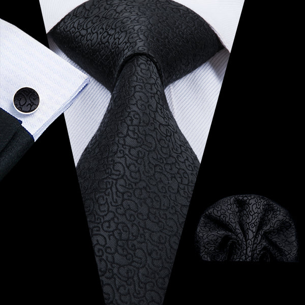 Unique Black Silk Tie Handkerchief  Cufflinks Set