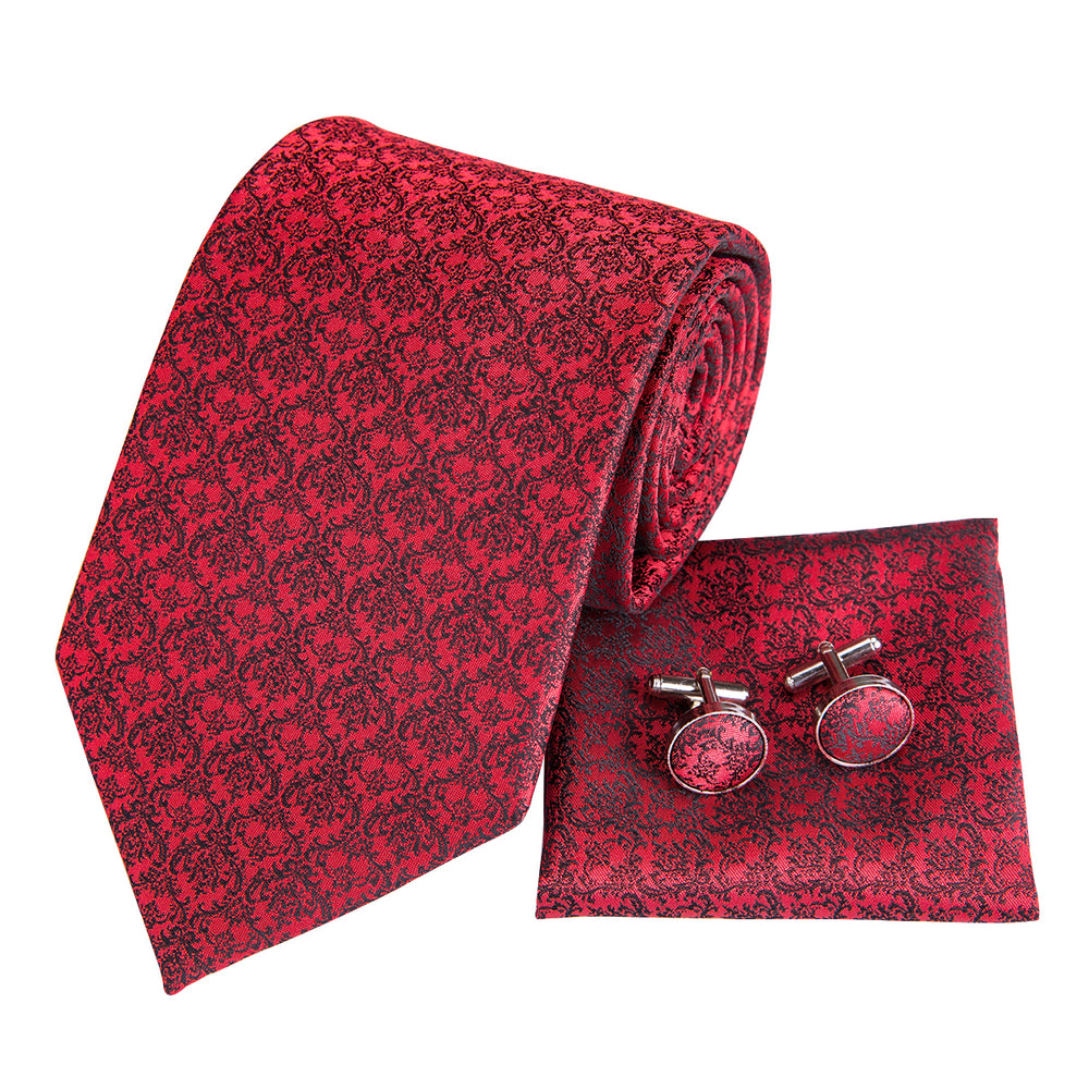 Load image into Gallery viewer, Unique Red Grey Floral Ties Handkerchief Cufflinks Set