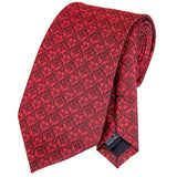 Unique Red Grey Floral Ties Handkerchief Cufflinks Set