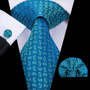 Blue Green Paisely Mens Tie Pocket Square Cufflinks Set (1912935448618)
