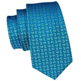 Blue Green Paisely Mens Tie Pocket Square Cufflinks Set