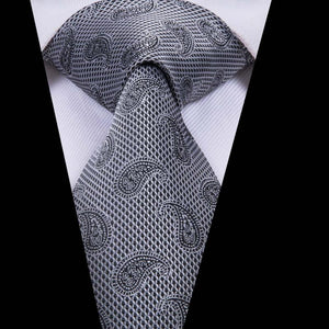 Beautiful Grey Paisely Mens Tie Pocket Square Cufflinks Set