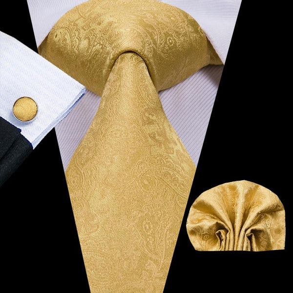 Gold Yellow  Paisely  Mens Tie Pocket Square Cufflinks Set