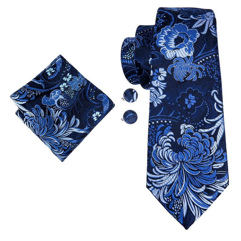 Load image into Gallery viewer, Classic Blue Floral  Mens Tie Pocket Square Cufflinks Set (1914571096106)
