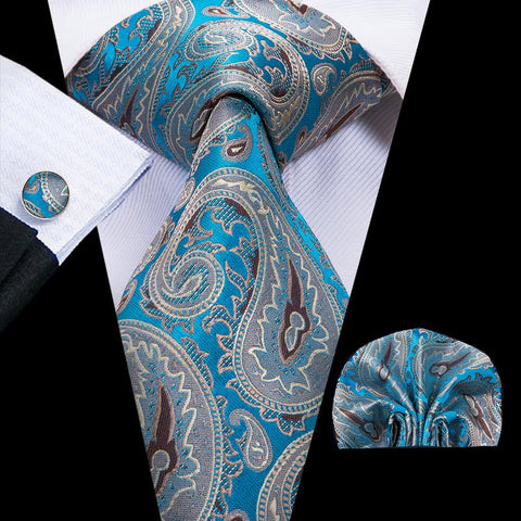 Grey Blue Paisely Mens Tie Pocket Square Cufflinks Set