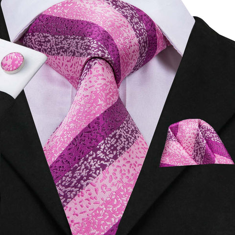 Honour Purple Pink Stripe Tie Hanky Cufflinks Set