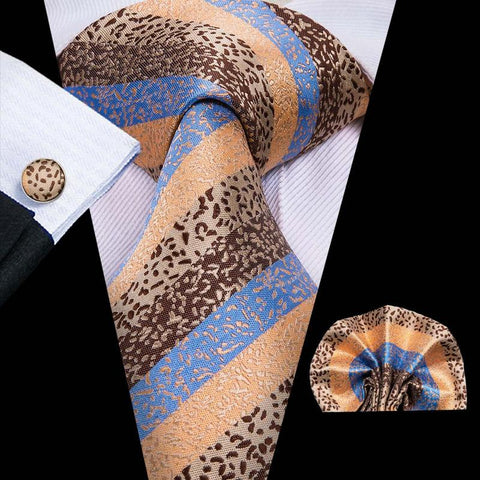 Blue Brown Striped Mens Tie Pocket Square Cufflinks Set