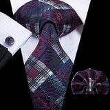 Purple White Plaid  Mens Tie Pocket Square Cufflinks Set
