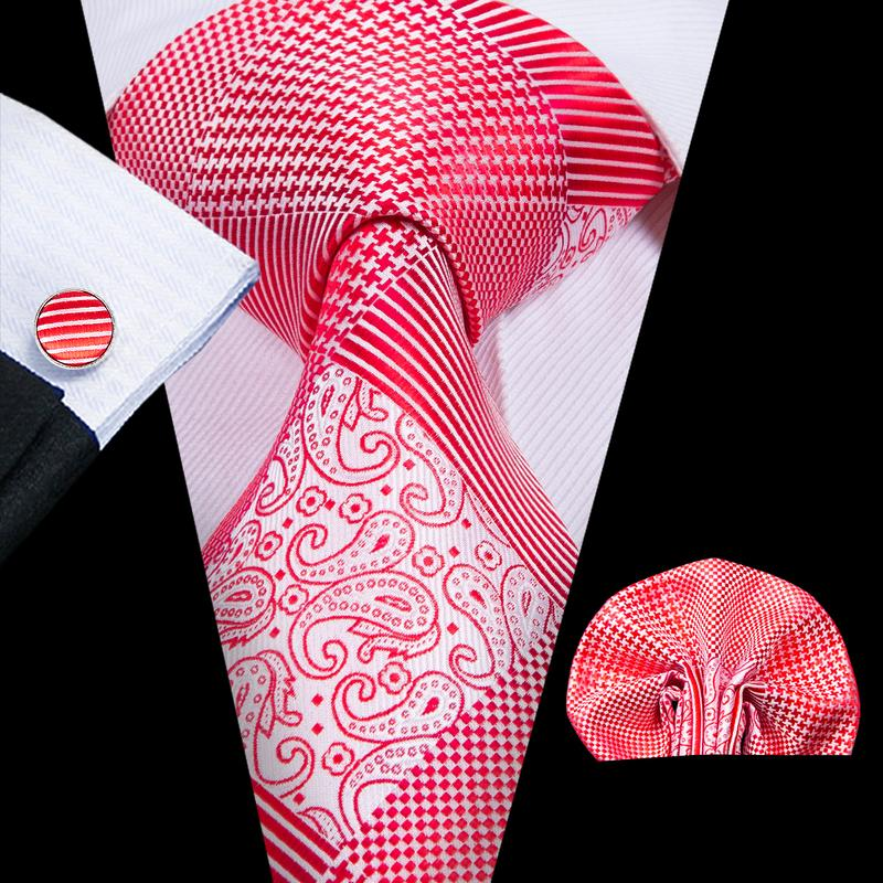 Load image into Gallery viewer, Red White Plaid  Mens Tie Pocket Square Cufflinks Set