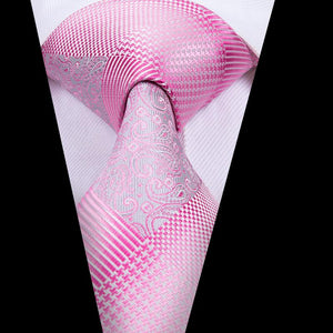 Pink White Plaid  Mens Tie Pocket Square Cufflinks Set