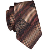 Brown Yellow Plaid  Mens Tie Pocket Square Cufflinks Set