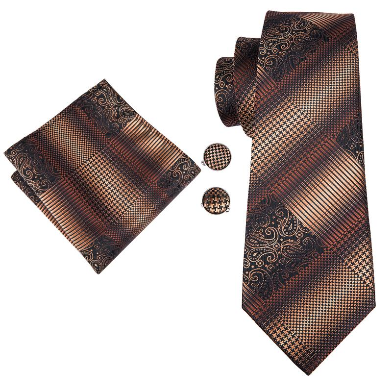Load image into Gallery viewer, Brown Yellow Plaid  Mens Tie Pocket Square Cufflinks Set