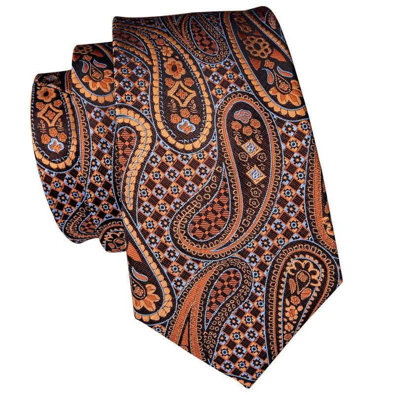 Brown Paisely Mens Tie Pocket Square Cufflinks Set
