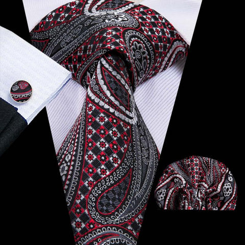 Black Red Paisely Mens Tie Pocket Square Cufflinks Set