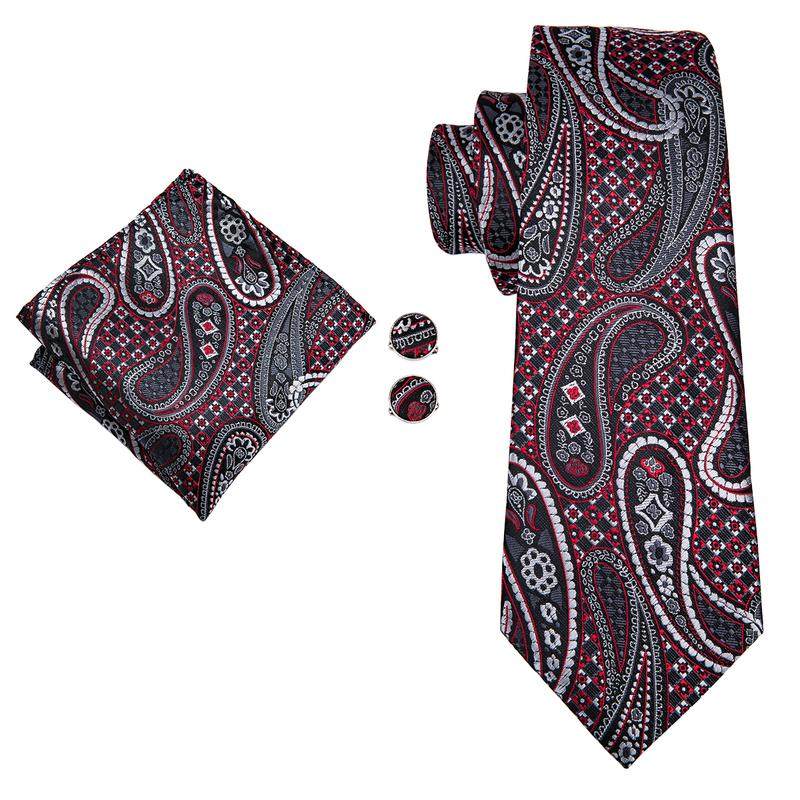 Black Red Paisely Mens Tie Pocket Square Cufflinks Set (1914621034538)