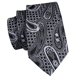 Black White Paisely Mens Tie Pocket Square Cufflinks Set (1914621427754)