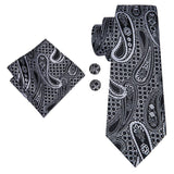 Black White Paisely Mens Tie Pocket Square Cufflinks Set