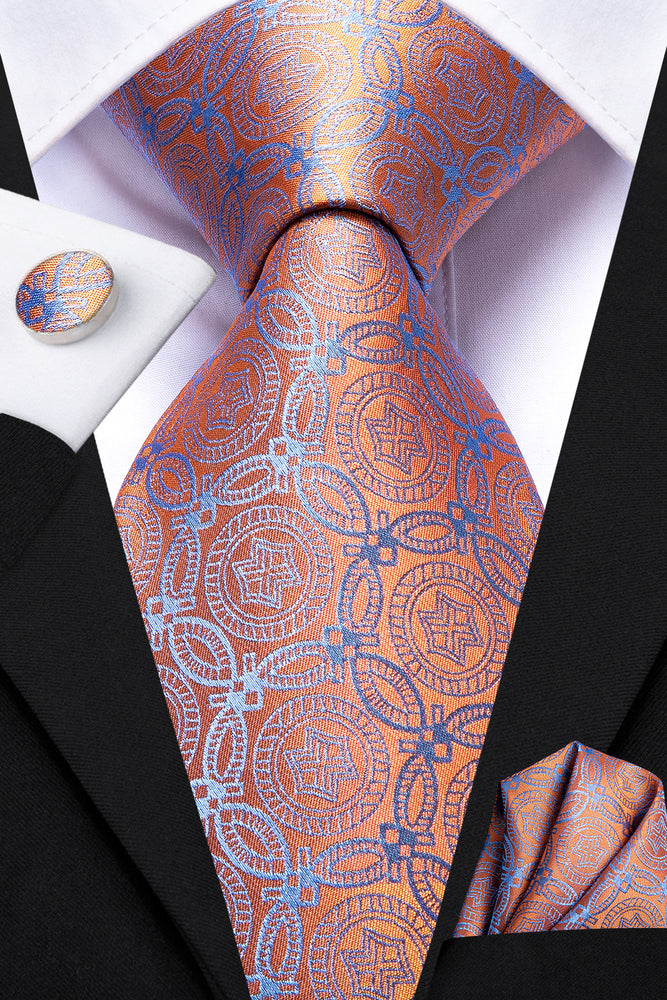 High Quality Orange Bule Floral Tie Pocket Square Cufflinks Set