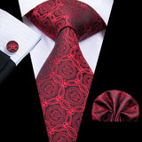 Red  Novelty  Mens Tie Pocket Square Cufflinks Set