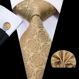 Gold Yellow Novelty  Mens Tie Pocket Square Cufflinks Set