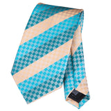 Men's Green Blue Striped Silk Tie Set