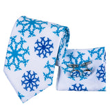 Men's Tie Snow Floral Tie Handkerchief Cufflinks Set