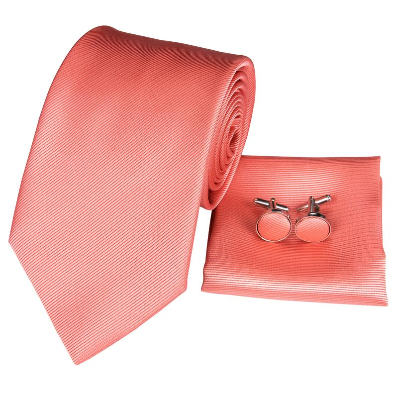 Load image into Gallery viewer, Red Orange Novelty Mens Tie Pocket Square Cufflinks Set