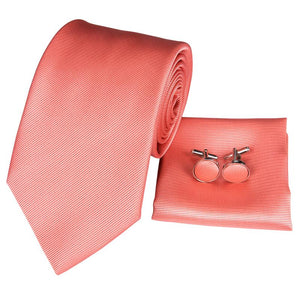 Load image into Gallery viewer, Red Orange Novelty Mens Tie Pocket Square Cufflinks Set (1914631421994)