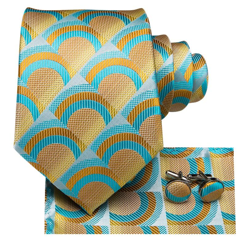 Attractive Men's Green Yellow Plaid Tie Pocket Square Cufflinks Set (1903449800746)