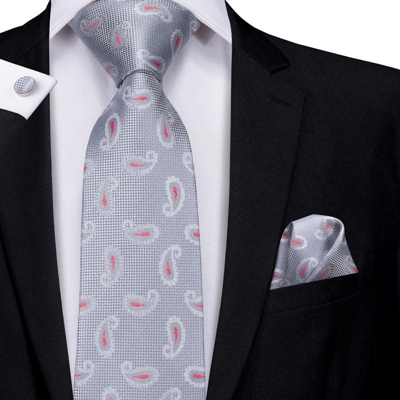 Load image into Gallery viewer, Attractive Men's Silver grey Paisley Tie Pocket Square Cufflinks Set