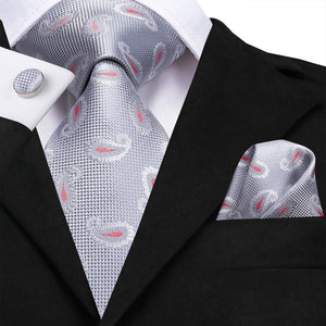 Attractive Men's Silver grey Paisley Tie Pocket Square Cufflinks Set