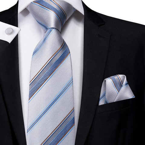 Attractive Men's  Grey Blue Stried Tie Pocket Square Cufflinks Set