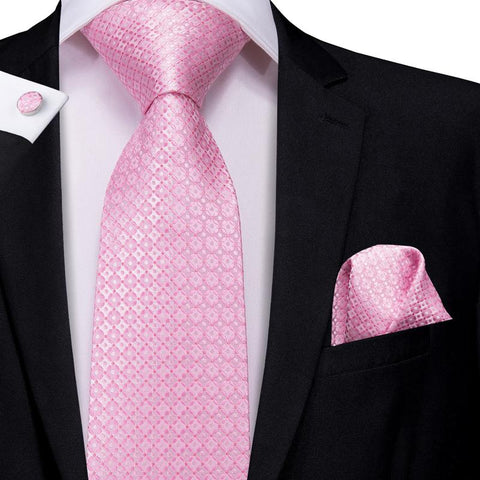 Attractive Men's  Pink Floral Tie Pocket Square Cufflinks Set