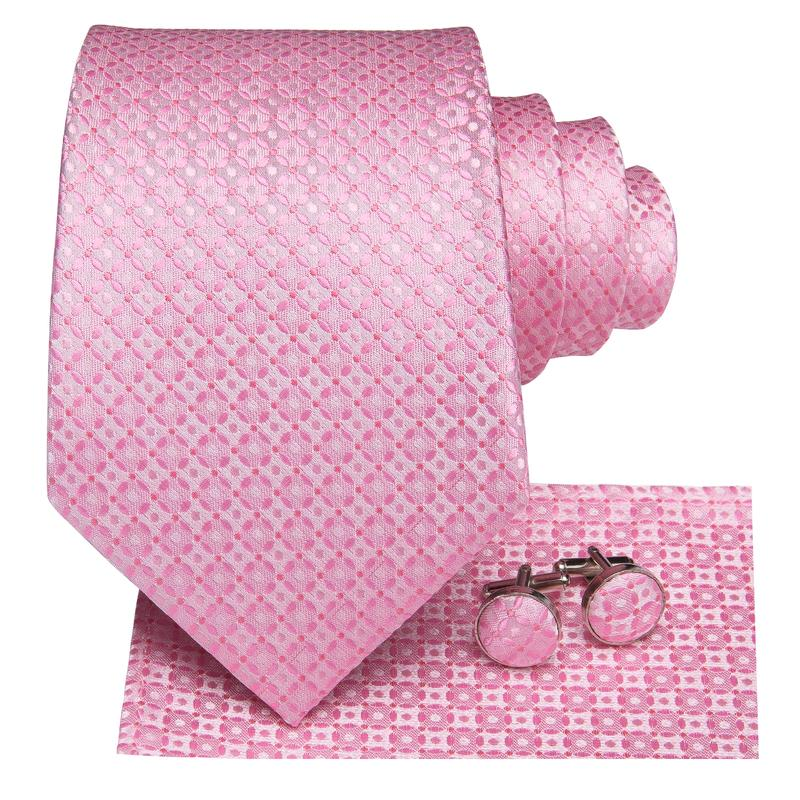Load image into Gallery viewer, Attractive Men's  Pink Floral Tie Pocket Square Cufflinks Set