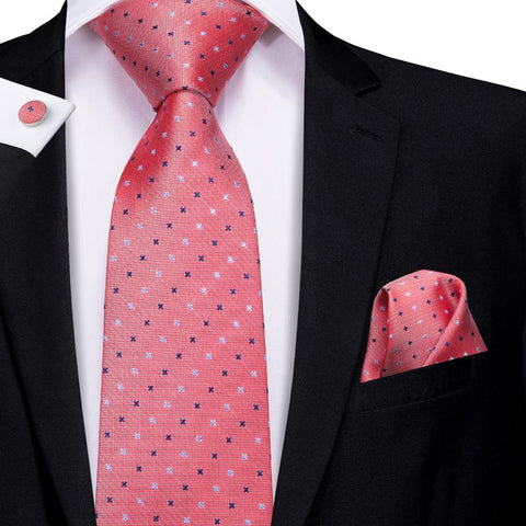 Attractive Men's  Orange Red Polka Dot Tie