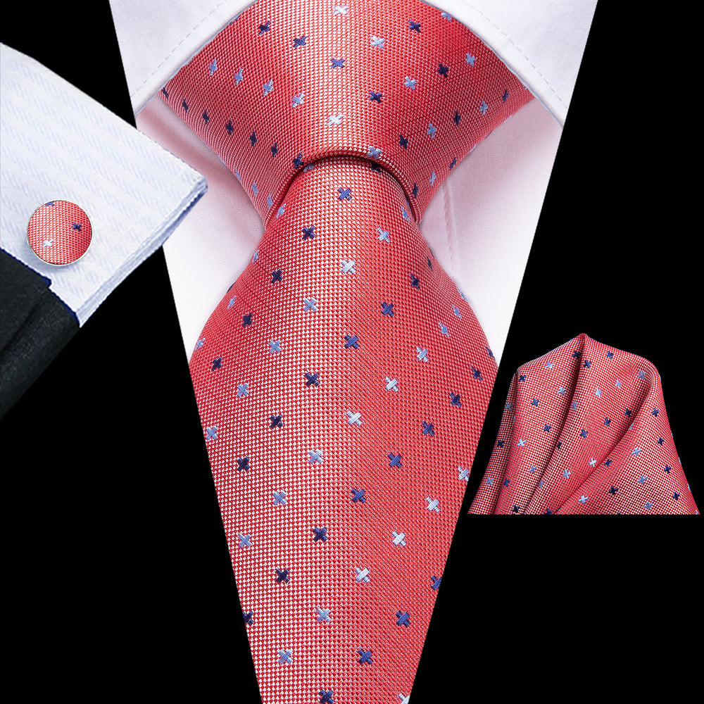 Attractive Men's  Orange Red Polka Dot Tie Pocket Square Cufflinks Set