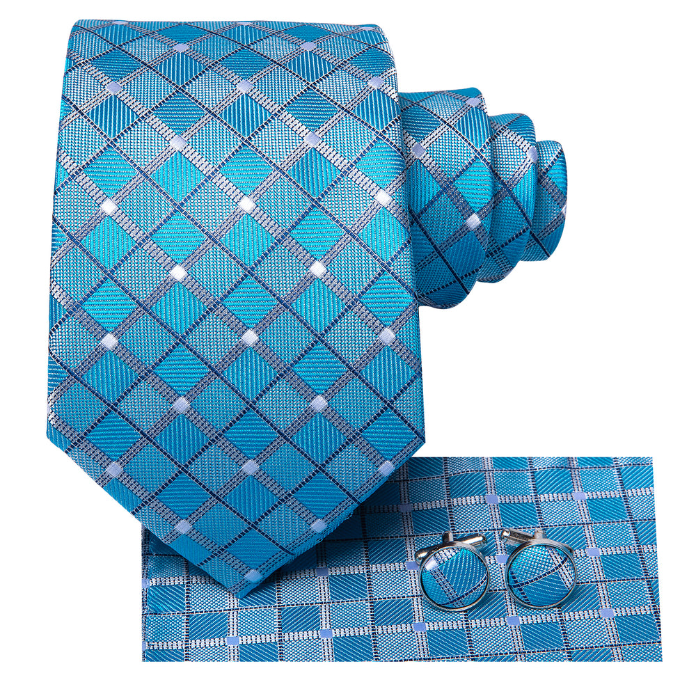 Attractive Men's  Sky blue Plaid Tie Pocket Square Cufflinks Set