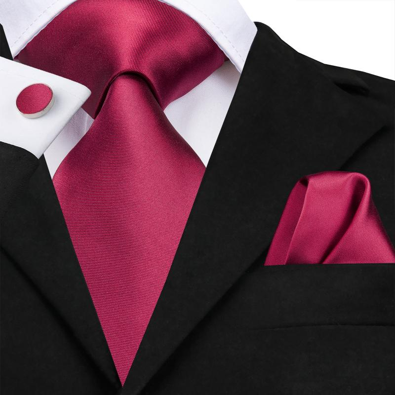 Load image into Gallery viewer, Attractive Men's Purplish red Solid Tie Pocket Square Cufflinks Set