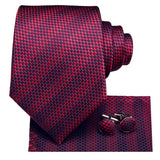 Attractive Men's Purplish red Striped Tie Pocket Square Cufflinks Set