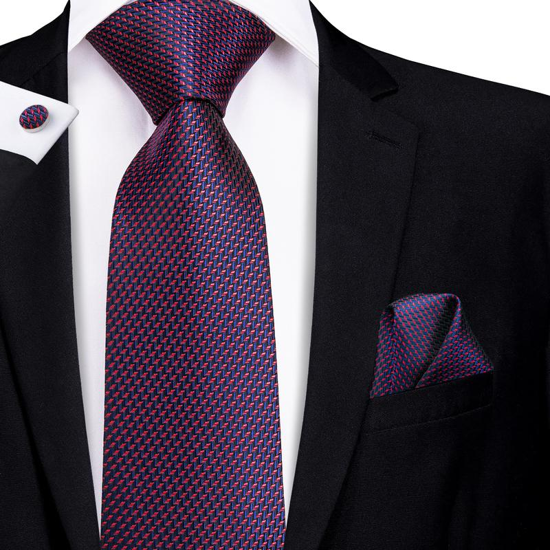 Load image into Gallery viewer, Attractive Men's Purplish Black Striped Tie Pocket Square Cufflinks Set