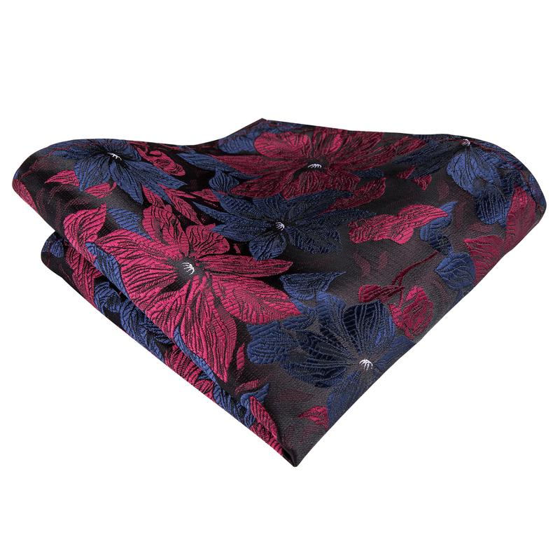 Attractive Men's Blue Red Floral Tie Pocket Square Cufflinks Set