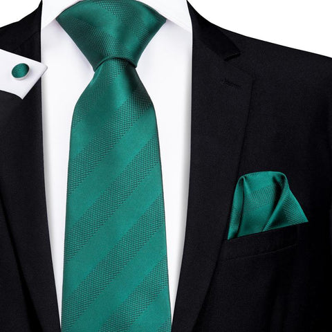 Attractive Men's  Dark Green Striped Tie Pocket Square Cufflinks Set