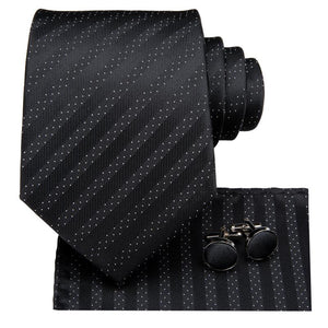 Load image into Gallery viewer, Attractive Men's  Black Striped Tie Pocket Square Cufflinks Set (1903611314218)