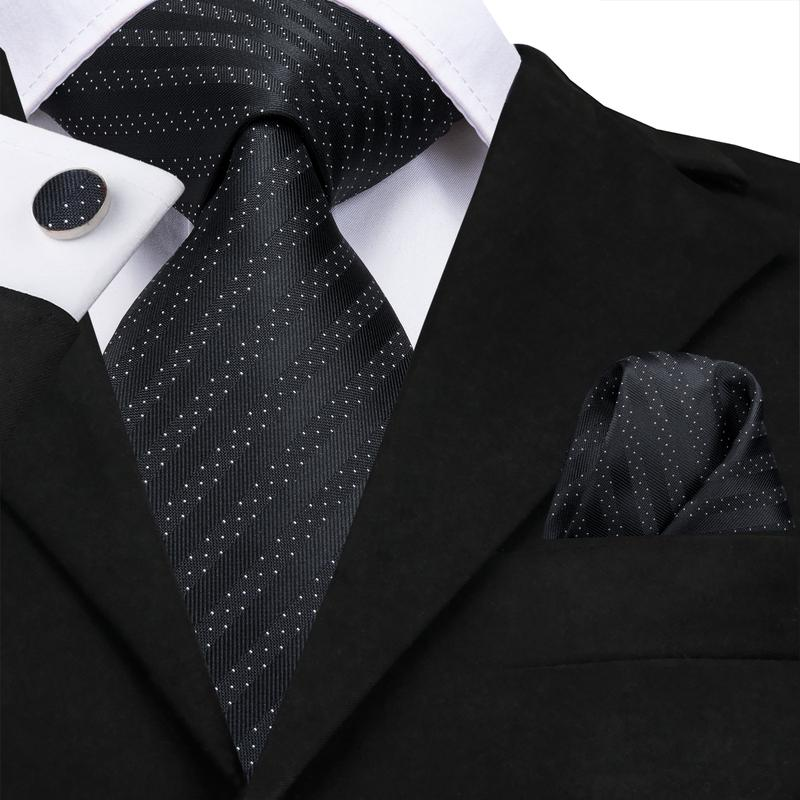 Attractive Men's  Black Striped Tie Pocket Square Cufflinks Set (1903611314218)