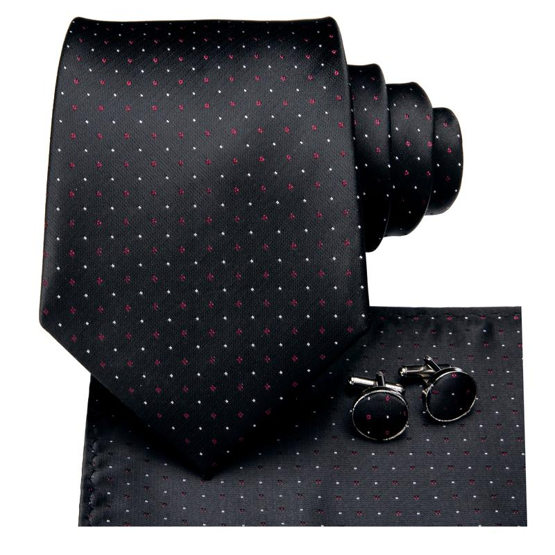 Load image into Gallery viewer, Attractive Men's  Black White Plaid Tie Pocket Square Cufflinks Set (1903612395562)