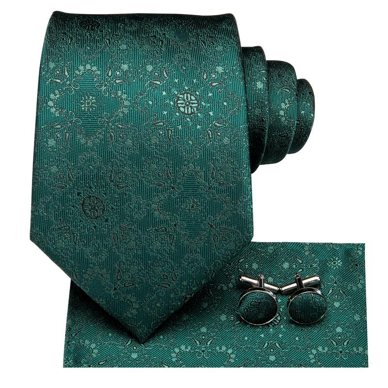 Attractive Men's  Green Floral Tie Pocket Square Cufflinks Set (1903624847402)