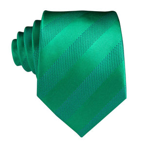 Green Striped  Men's Tie Pocket Square Cufflinks Set