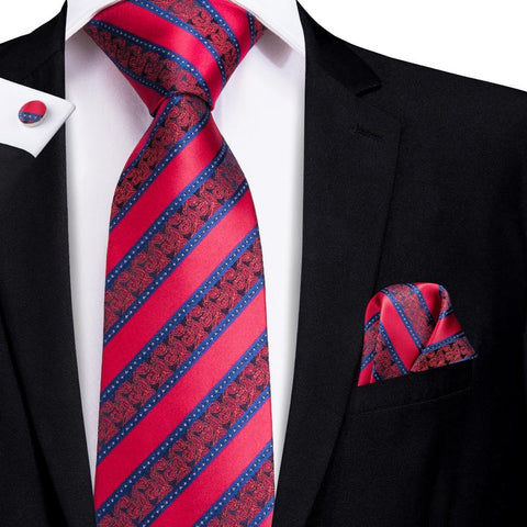 Blue Red  Striped  Men's Tie Pocket Square Cufflinks Set